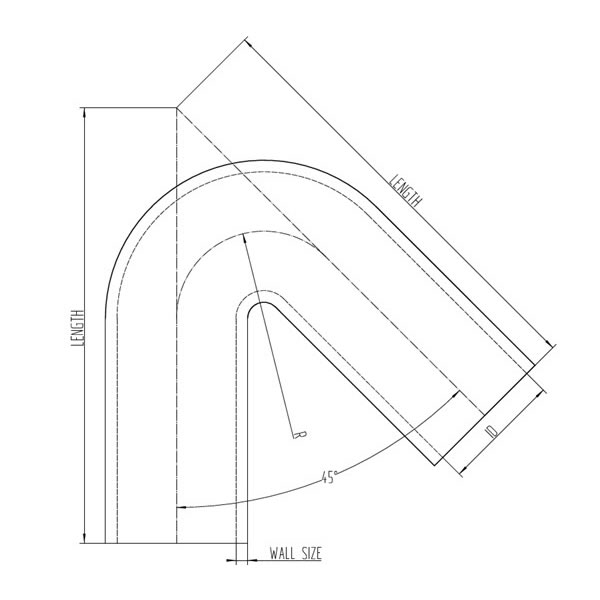 Silicone Hose 135 Degree Elbow CAD Drawing