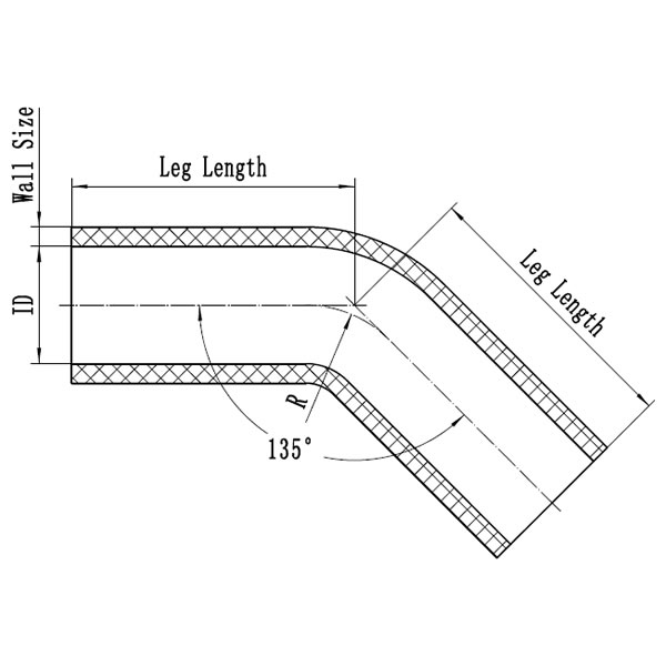 Silicone Hose 45 Degree Elbow CAD Drawing
