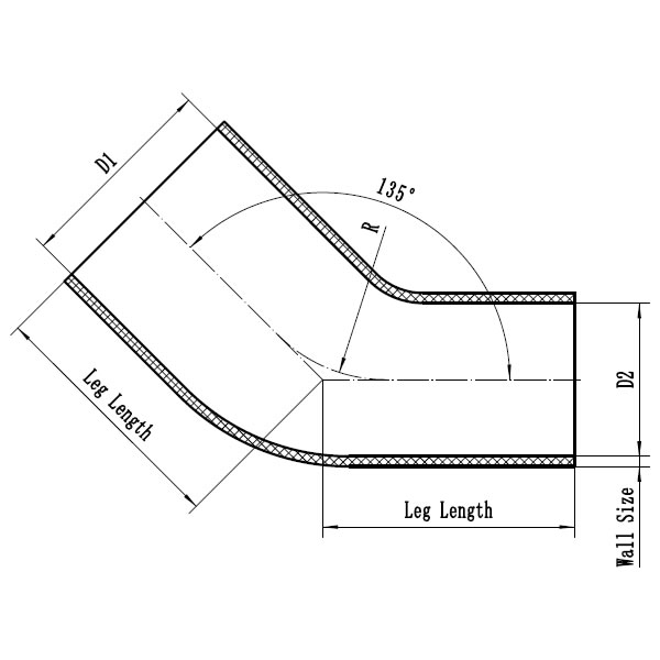 Silicone Hose 45 Degree Reducer Elbow CAD Drawing