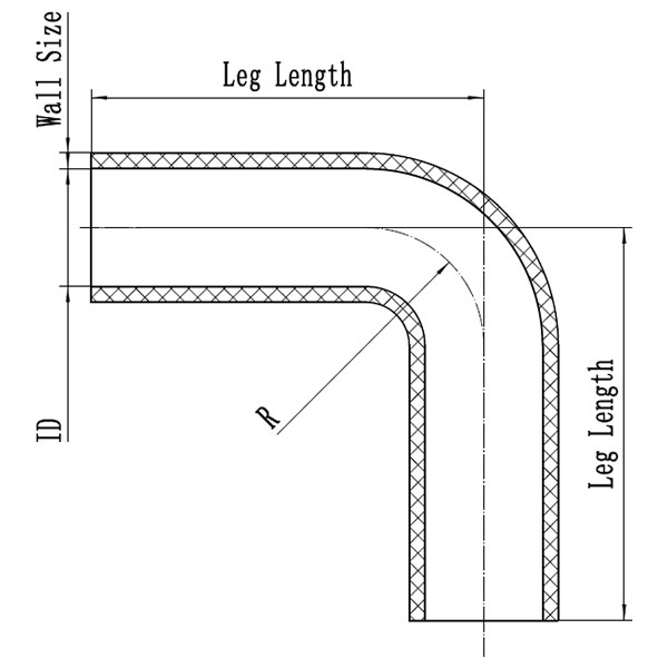 Silicone Hose 90 Degree Elbow CAD Drawing